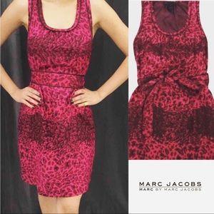 Marc Jacobs Pink Silk Leopard Print Dress NWT XS